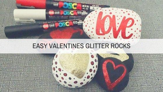 heart glitter painted rocks