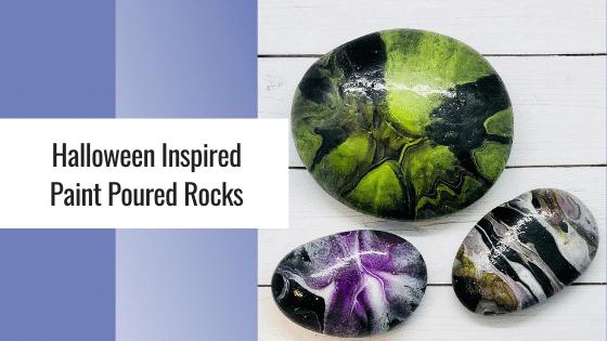 halloween paint poured rocks
