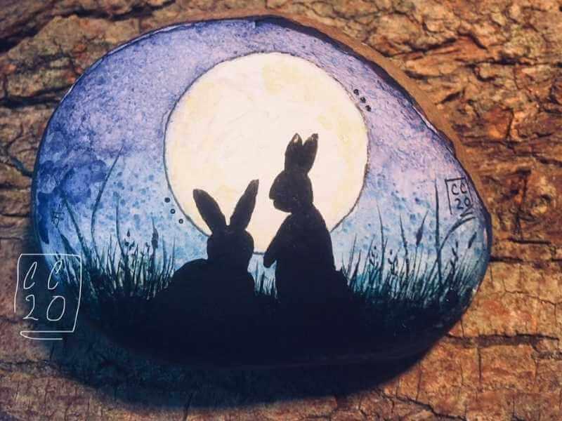 bunny at night watercolor ideas