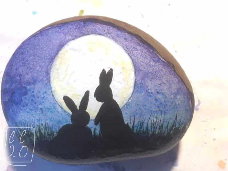 bunnies watercolor ideas on rocks