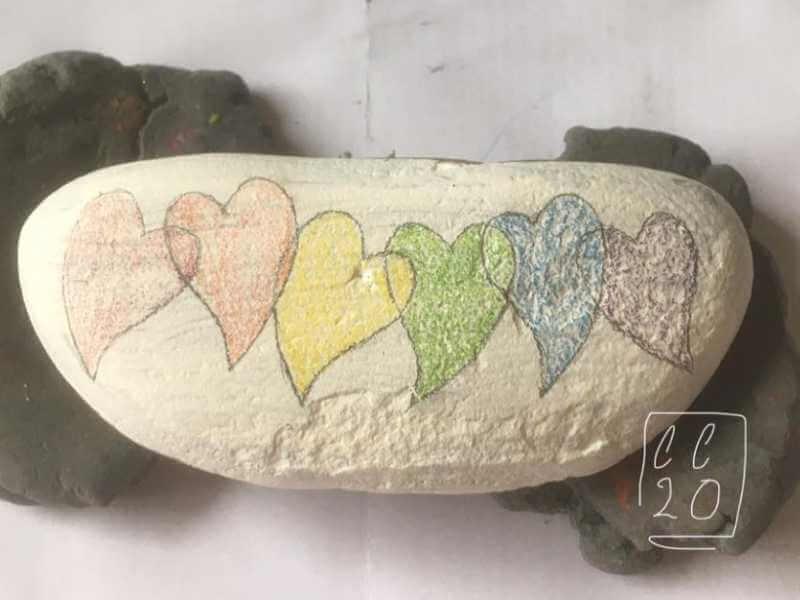 rainbow hearts watercolor ideas on rocks