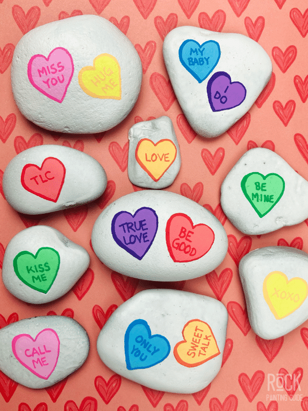 candy heart painted rocks