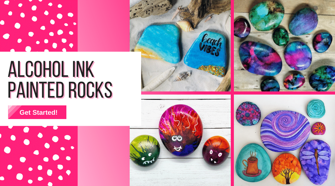 alcohol inks on painted rocks